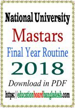 masters final year exam routine 2018